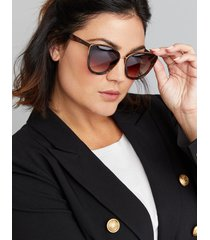 lane bryant women's layered cateye sunglasses with metal trim onesz animal ombre