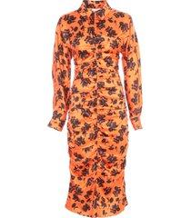 ganni silk stretch satin long l/s dress