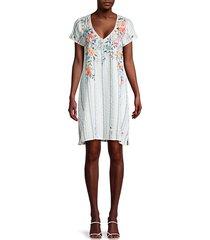 norah floral & stripe tunic dress