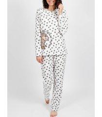 pyjama's / nachthemden admas binnenpak pyjamabroek microfleece thumper wit
