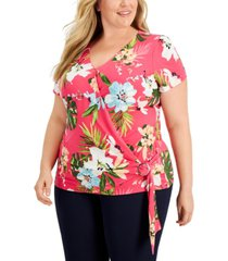 jm collection plus size printed faux-wrap top, created for macy's