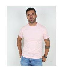 camiseta basica masculina gola careca lucas lunny lisa rosa .