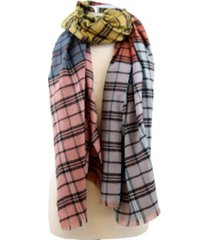 marcus adler multi colored patchwork plaid blanket scarf