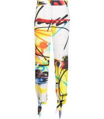 off-white graffiti-print ankle-tie trousers