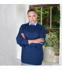 women's 100% soft merino wool denim merino crew neck sweater medium