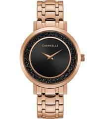 caravelle designed by bulova women's rose gold-tone stainless steel bracelet watch 36mm