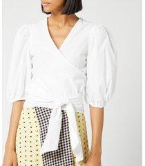 ganni women's plain cotton poplin shirt - white - eu 40/uk 12