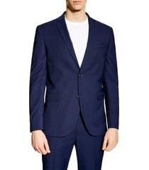 men's topman jude skinny fit blazer, size 34 r - blue