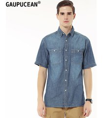 camisa manga corta gaupucean para hombre-azul oscuro