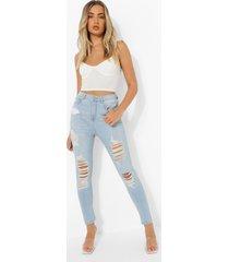 gescheurde skinny jeans met 5 zakken en hoge taille, light blue