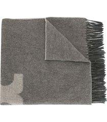 tory burch solid logo oblong scarf - grey