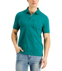 club room men's solid jersey polo with pocket, created for macy's