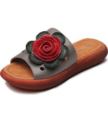slipper in pelle fiore peep toe su comode pantofole piatte