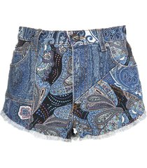 blue paisley denim shorts