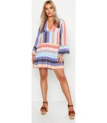 plus patchwork smock dress, purple