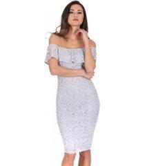 ax paris ruffled off the shoulder lace midi dress