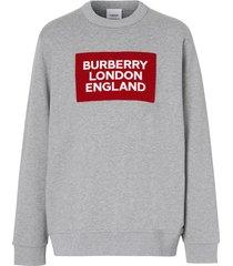 burberry logo appliqué crewneck sweatshirt - grey