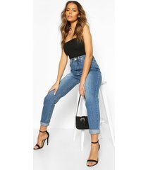 high rise mid wash mom jeans, blue