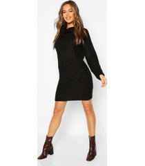 knitted cowl neck sweater dress, black