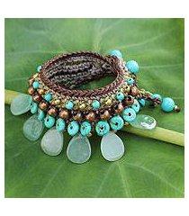 aventurine wristband bracelet, 'fantastic aqua' (thailand)