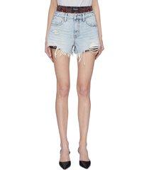 bite' bandana print underlayer distressed denim shorts