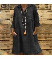 3/4 zanzea verano verano de las mujeres da vuelta-abajo mini vestido vestidos flojos ocasionales -negro