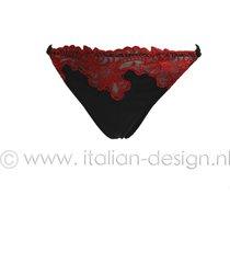 ambra lingerie slips platinum royale tanga zwart/rood 1635