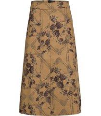brocade jacquard knälång kjol beige ganni