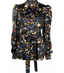 the vampire's wife heidi belted floral-print silk blouse - black