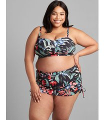 lane bryant women's eco-friendly faux-wrap no-wire swim bandeau top 16 island blooms