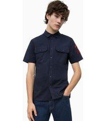 camisa regular scout azul marino calvin klein