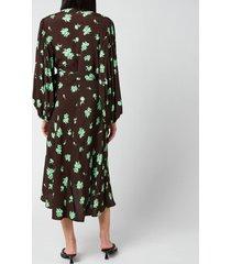ganni women's printed crepe wrap dress - mole - eu 42/ uk 14