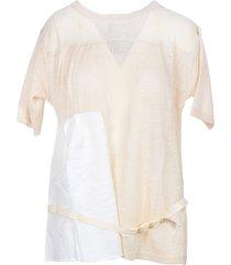 manila grace designer t-shirts & tops, white and beige linen belted women's t-shirt