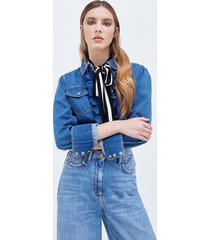 motivi camicia in denim con rouches donna blu