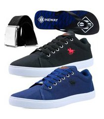 kit sapatenis casual neway polo energy masculino azul + preto + 1 chinelo neway + 1 cinto