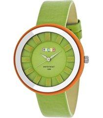 crayo unisex celebration green genuine leather strap watch 38mm