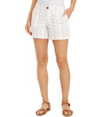 style & co striped slit-hem shorts, created for macy's