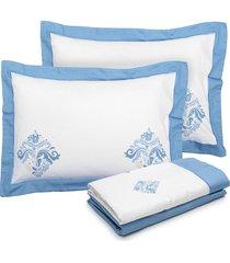 jogo de cama 4pçs casal kacyumara lázio ampero azul azul