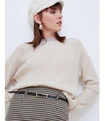 motivi maglia a coste con fiocco lurex donna bianco