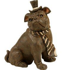 escultura decorativa de resina cachorro tie