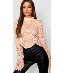 gehaakte crop top met kant en turtle neck, nude