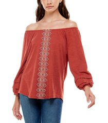 adrienne vittadini women's 3/4 raglan sleeve top with elastic neck