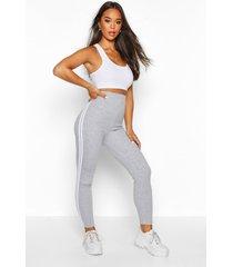 side stripe soft legging, grey marl