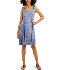 style & co printed tie-sleeve dress, created for macy's