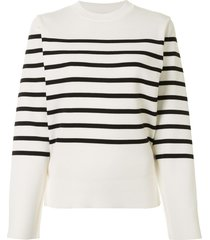 akira naka cut-out striped pullover - white