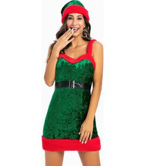 faux fur christmas cosplay santa claus dress with hat