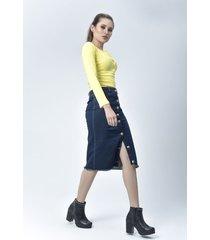 blusa dama amarillo di bello jeans  classic blouse ref b205