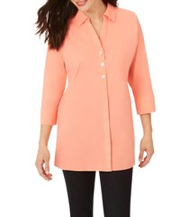 women's foxcroft pamela stretch button-up tunic, size 10 - coral