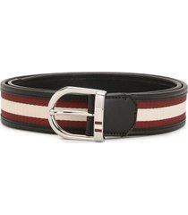 bally darkon enameled stripe 35mm belt - black