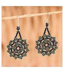 glass beaded dangle earrings, 'iridescent stars' (mexico)